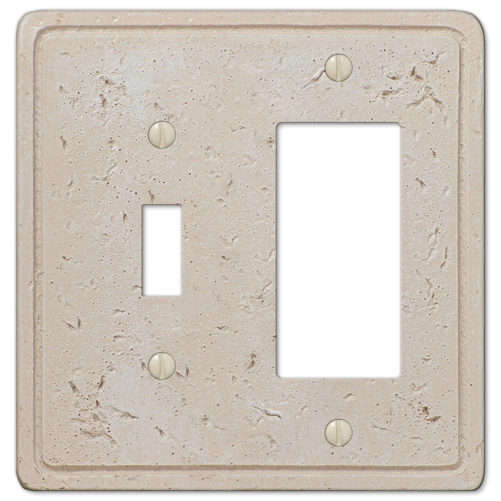 Faux Stone Cream Resin - 1 Toggle / 1 Rocker Wallplate - Wallplate Warehouse