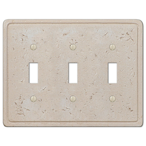 Faux Stone Cream Resin - 3 Toggle Wallplate - Wallplate Warehouse