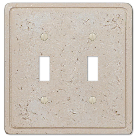 Faux Stone Cream Resin - 2 Toggle Wallplate - Wallplate Warehouse