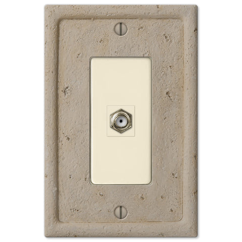 Faux Stone Beige Resin - 1 Cable Jack Wallplate - Wallplate Warehouse