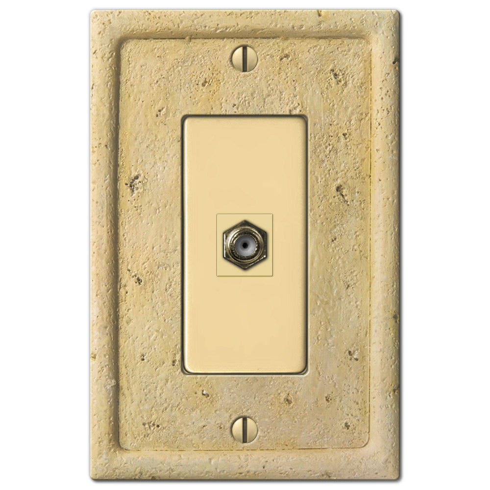 Faux Stone Ivory Resin - 1 Cable Jack Wallplate