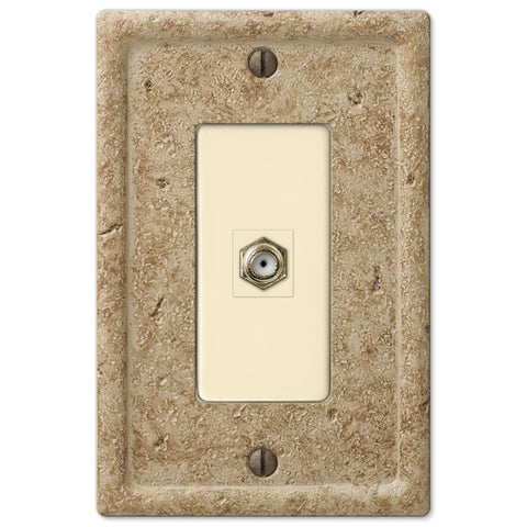 Faux Stone Noce Resin - 1 Cable Jack Wallplate - Wallplate Warehouse