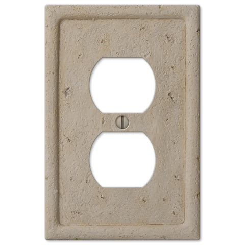 Faux Stone Beige Resin - 1 Duplex Outlet Wallplate - Wallplate Warehouse