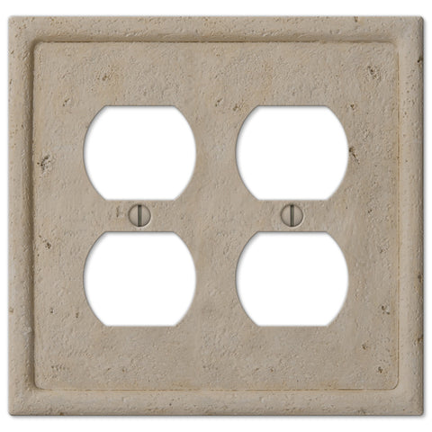 Faux Stone Beige Resin - 2 Duplex Outlet Wallplate - Wallplate Warehouse