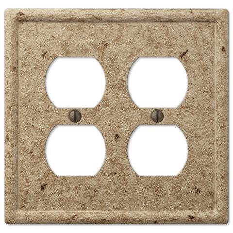 Faux Stone Noce Resin - 2 Duplex Outlet Wallplate - Wallplate Warehouse