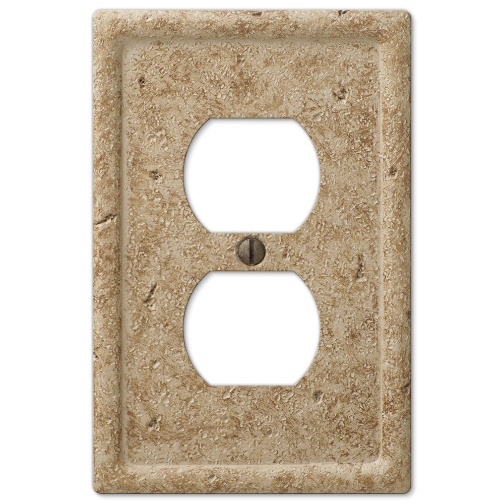 Faux Stone Noce Resin - 1 Duplex Outlet Wallplate - Wallplate Warehouse