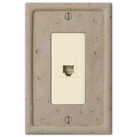 Faux Stone Beige Resin - 1 Phone Jack Wallplate - Wallplate Warehouse