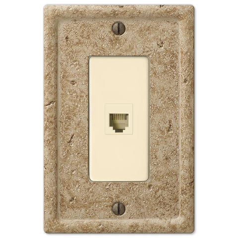 Faux Stone Noce Resin - 1 Phone Jack Wallplate - Wallplate Warehouse