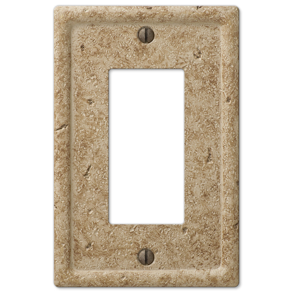 Faux Stone Noce Resin - 1 Rocker Wallplate - Wallplate Warehouse