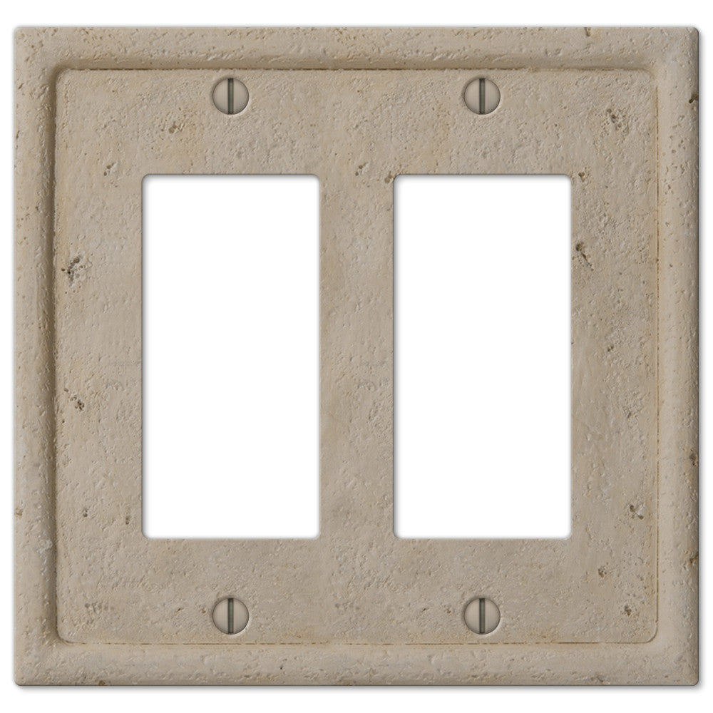 Faux Stone Beige Resin - 2 Rocker Wallplate - Wallplate Warehouse