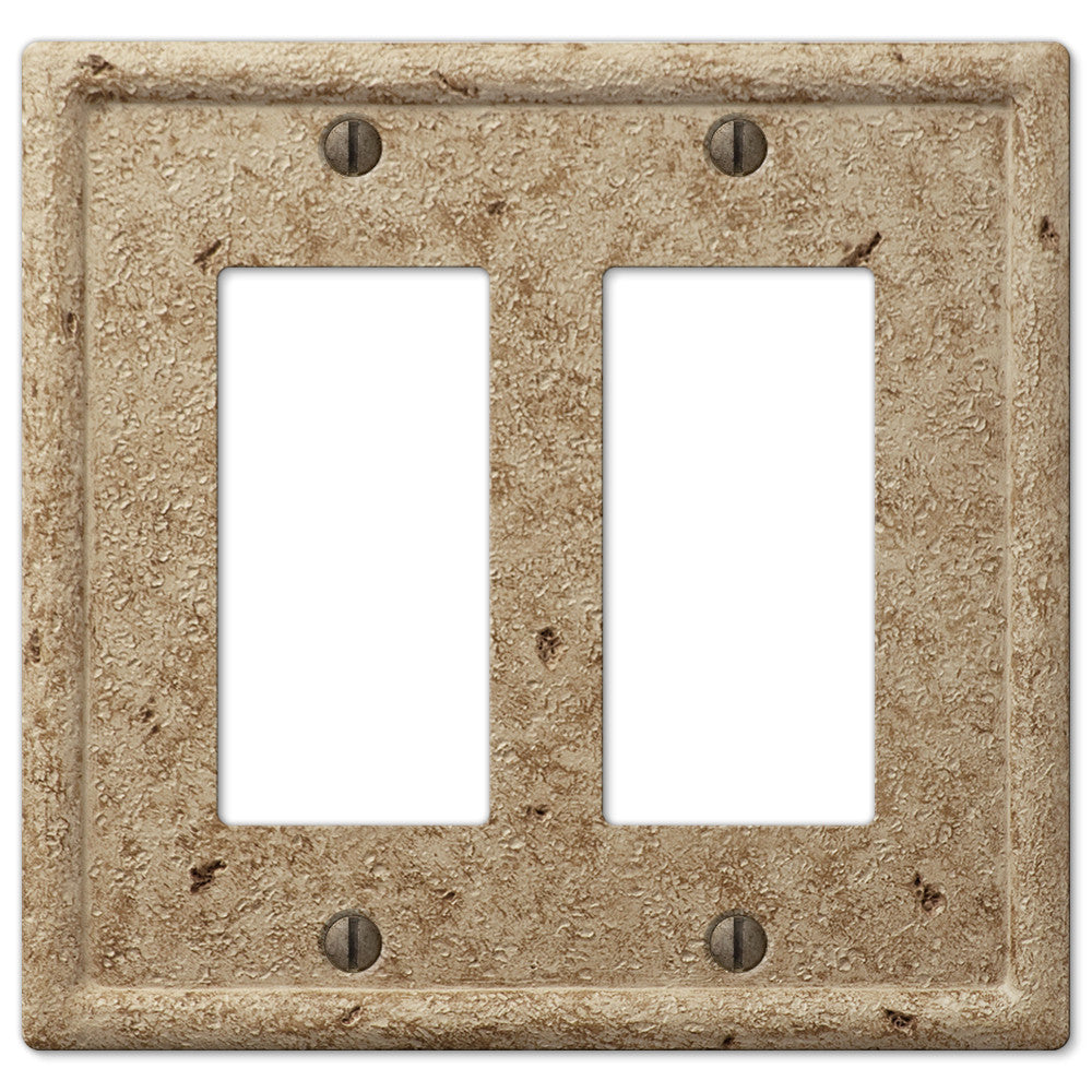 Faux Stone Noce Resin - 2 Rocker Wallplate - Wallplate Warehouse