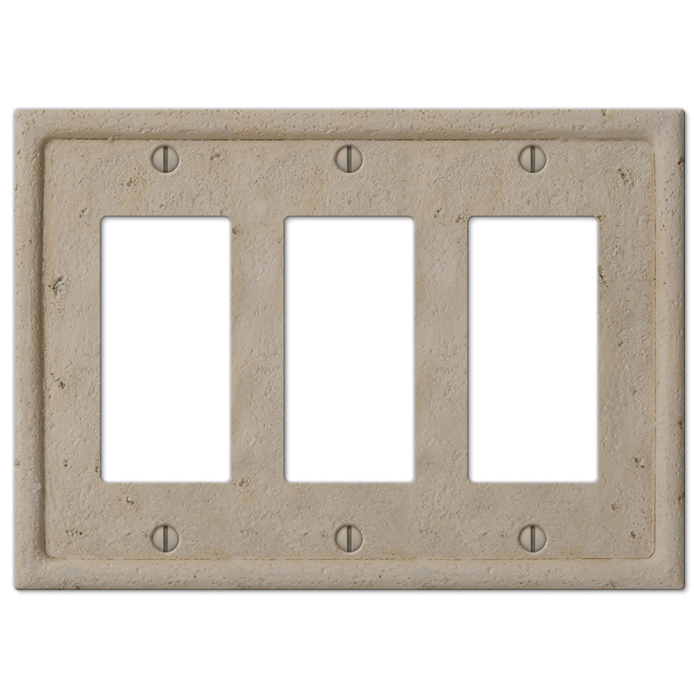 Faux Stone Beige Resin - 3 Rocker Wallplate - Wallplate Warehouse