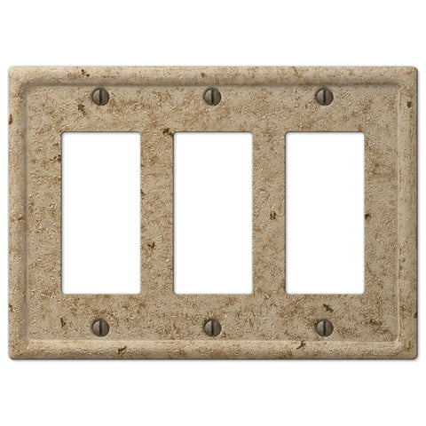 Faux Stone Noce Resin - 3 Rocker Wallplate - Wallplate Warehouse