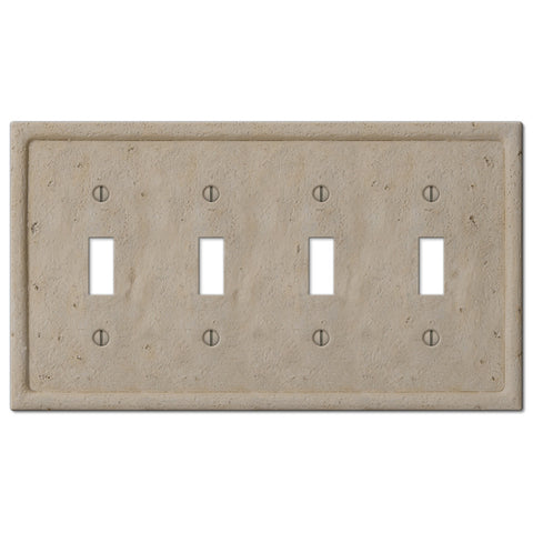 Faux Stone Beige Resin - 4 Toggle Wallplate - Wallplate Warehouse