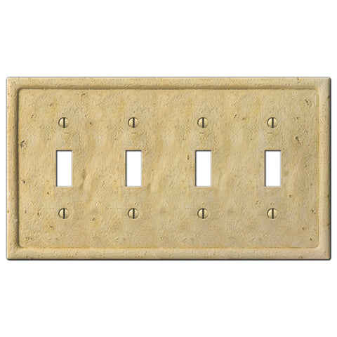 Faux Stone Ivory Resin - 4 Toggle Wallplate