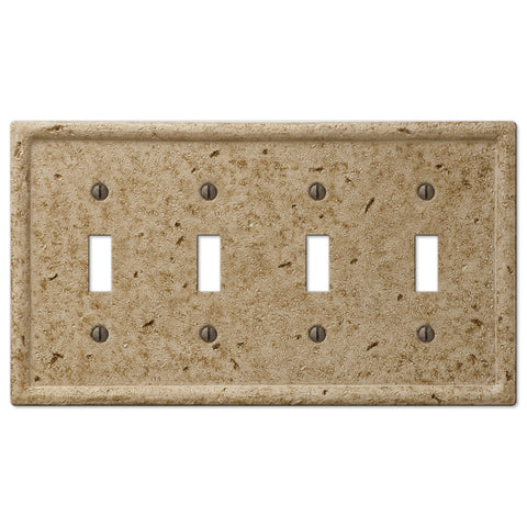 Faux Stone Noce Resin - 4 Toggle Wallplate - Wallplate Warehouse