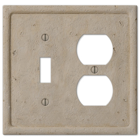 Faux Stone Beige Resin - 1 Toggle / 1 Duplex Outlet Wallplate - Wallplate Warehouse