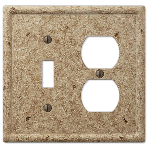 Faux Stone Noce Resin - 1 Toggle / 1 Duplex Outlet Wallplate - Wallplate Warehouse