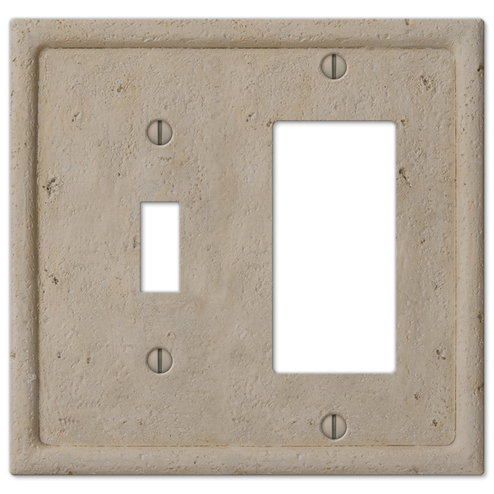 Faux Stone Beige Resin - 1 Toggle / 1 Rocker Wallplate - Wallplate Warehouse