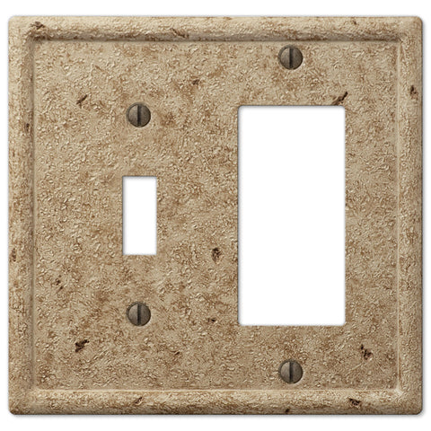 Faux Stone Noce Resin - 1 Toggle / 1 Rocker Wallplate - Wallplate Warehouse