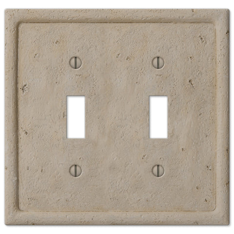 Faux Stone Beige Resin - 2 Toggle Wallplate - Wallplate Warehouse