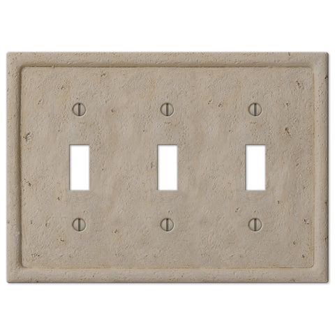 Faux Stone Beige Resin - 3 Toggle Wallplate - Wallplate Warehouse