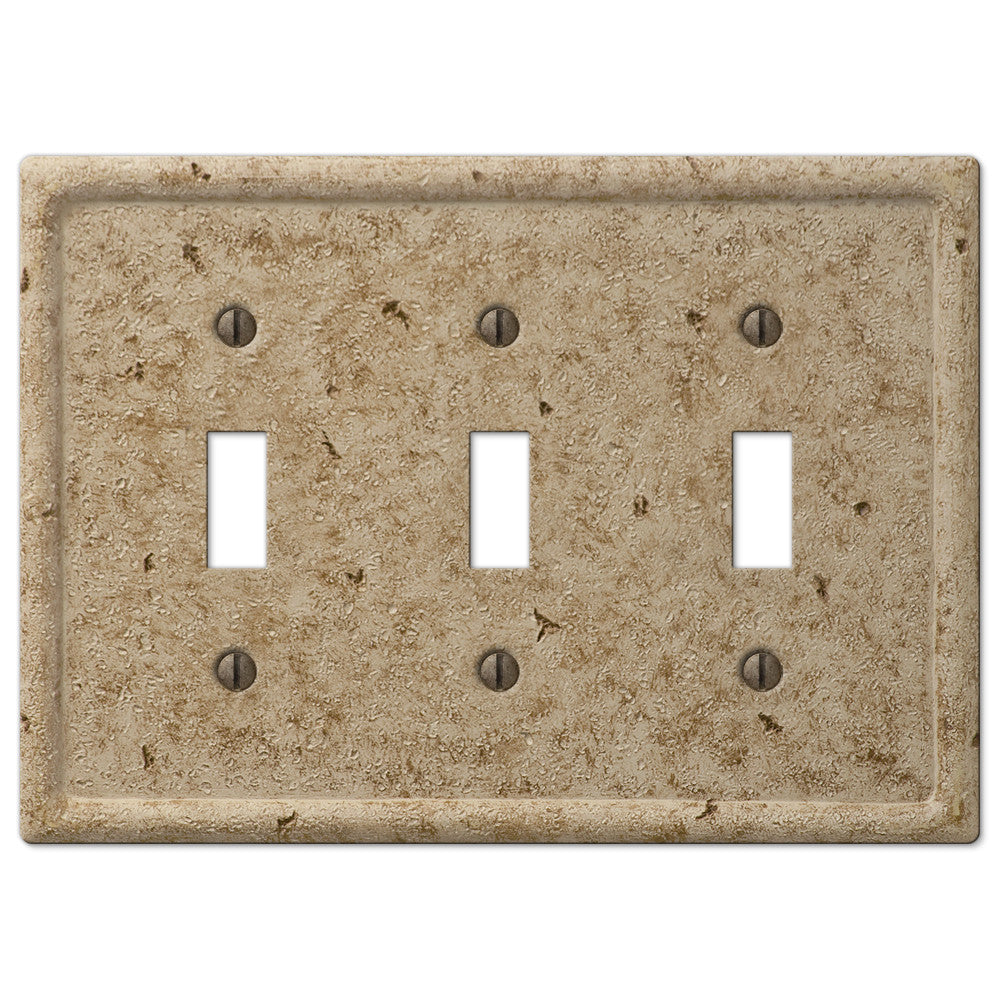Faux Stone Noce Resin - 3 Toggle Wallplate - Wallplate Warehouse