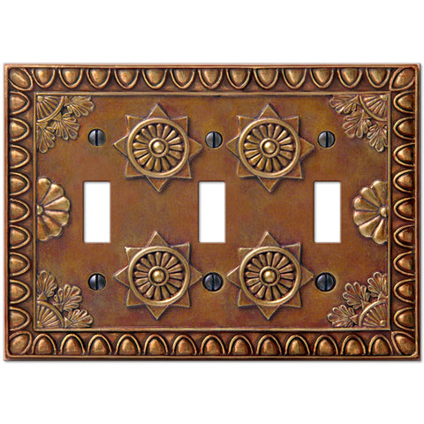 Amiens Copper Resin - 3 Toggle Wallplate - Wallplate Warehouse
