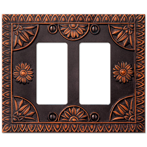 York Aged Bronze Resin - 2 Rocker Wallplate - Wallplate Warehouse