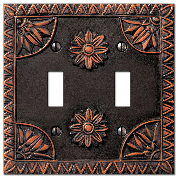 York Aged Bronze Resin - 2 Toggle Wallplate - Wallplate Warehouse