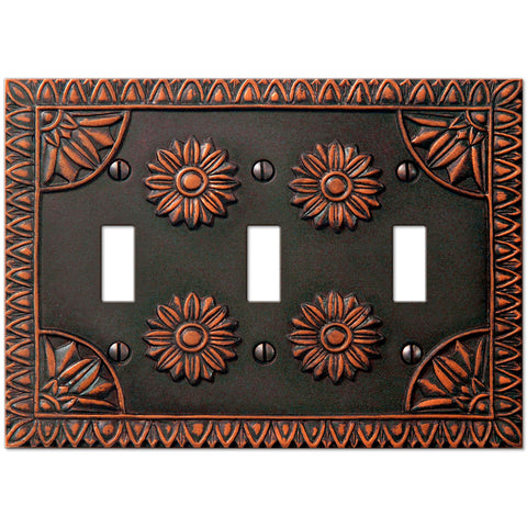 York Aged Bronze Resin - 3 Toggle Wallplate - Wallplate Warehouse