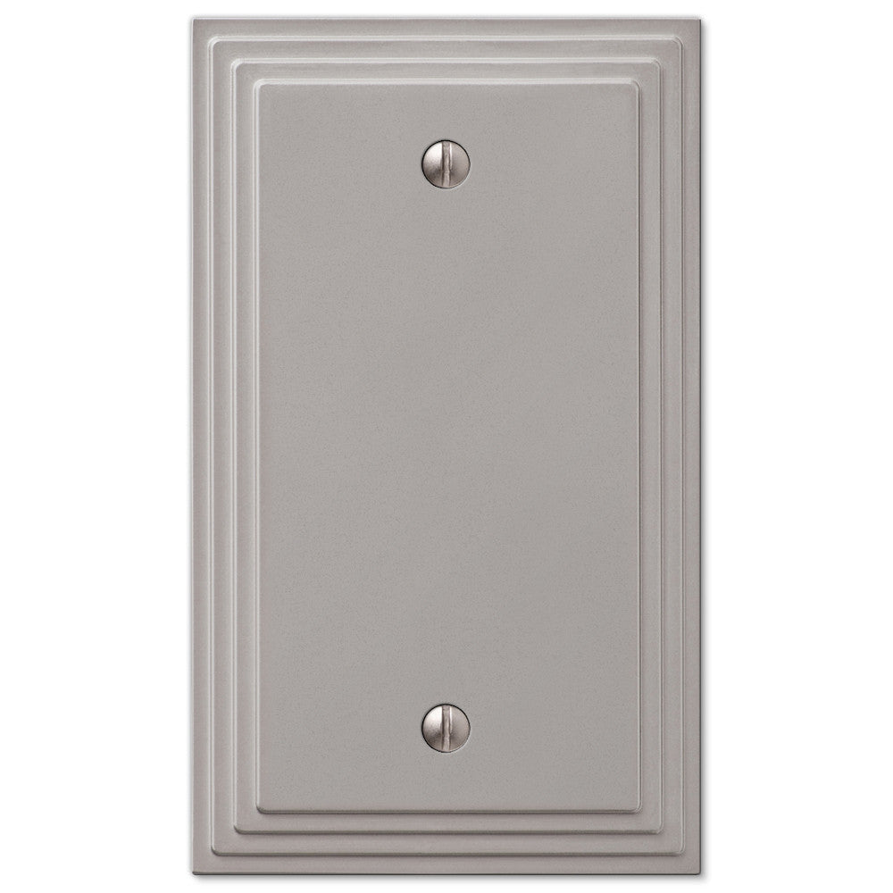 Steps Satin Nickel Cast - 1 Blank Wallplate - Wallplate Warehouse