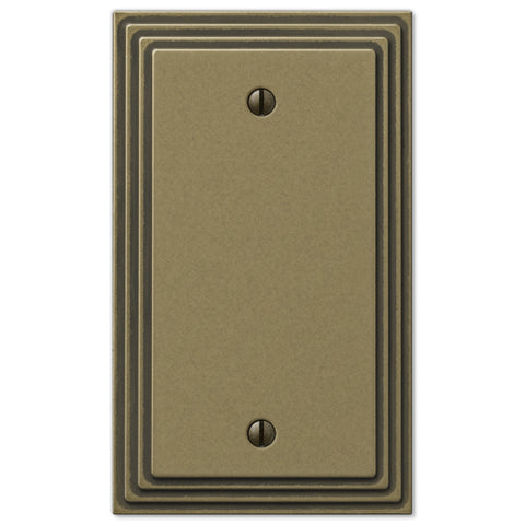 Steps Rustic Brass Cast - 1 Blank Wallplate - Wallplate Warehouse