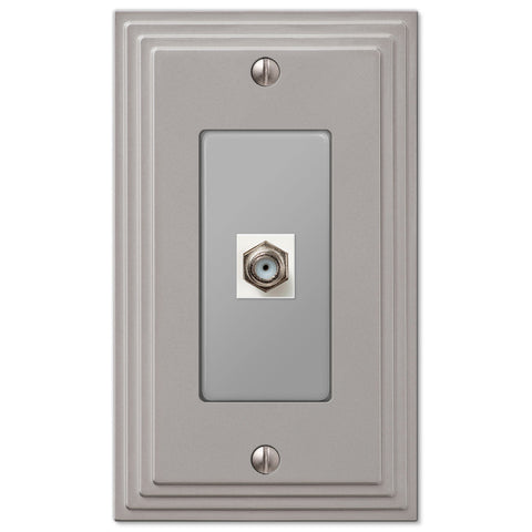Steps Satin Nickel Cast - 1 Cable Jack Wallplate - Wallplate Warehouse