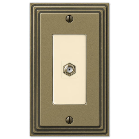 Steps Rustic Brass Cast - 1 Cable Jack Wallplate - Wallplate Warehouse