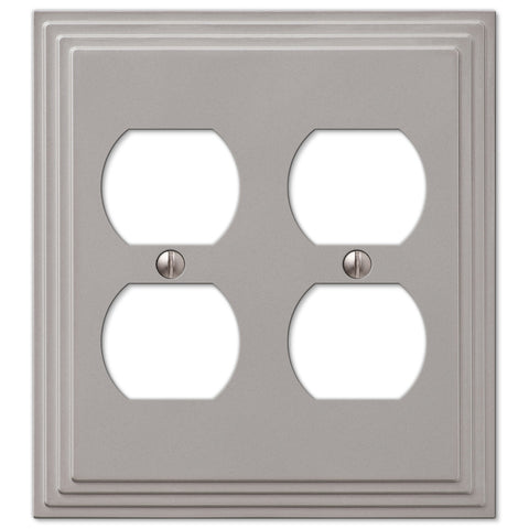 Steps Satin Nickel Cast - 2 Duplex Outlet Wallplate - Wallplate Warehouse