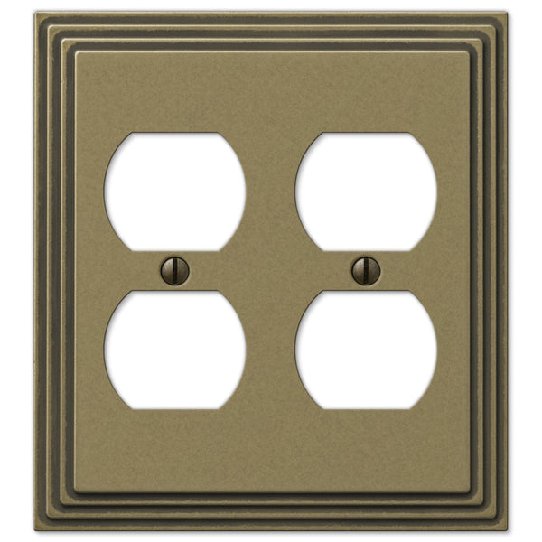 Steps Rustic Brass Cast - 2 Duplex Outlet Wallplate - Wallplate Warehouse