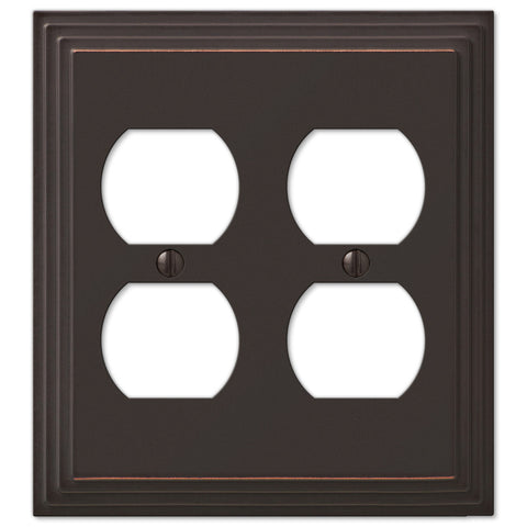 Steps Aged Bronze Cast - 2 Duplex Outlet Wallplate - Wallplate Warehouse