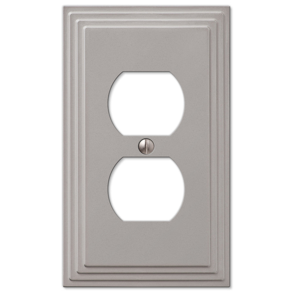 Steps Satin Nickel Cast - 1 Duplex Outlet Wallplate - Wallplate Warehouse