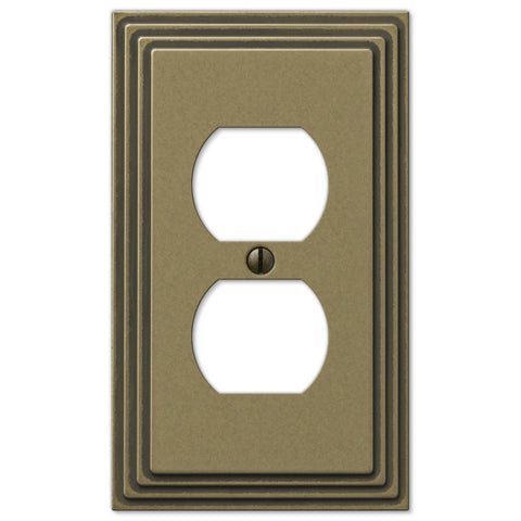 Steps Rustic Brass Cast - 1 Duplex Outlet Wallplate - Wallplate Warehouse
