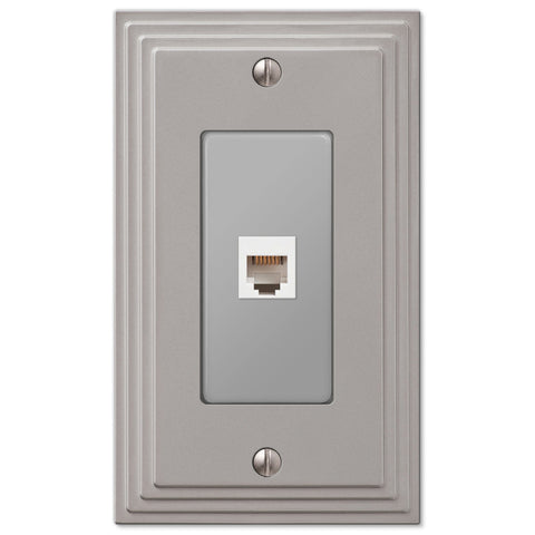 Steps Satin Nickel Cast - 1 Phone Jack Wallplate - Wallplate Warehouse