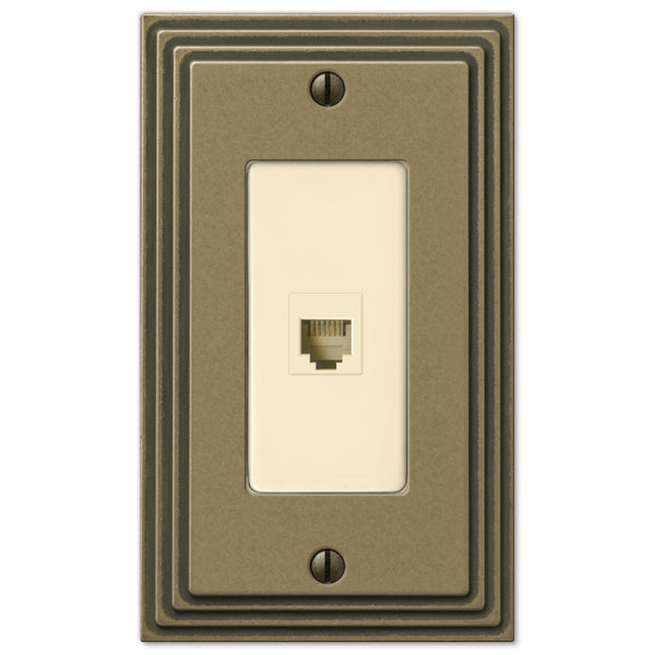 Steps Rustic Brass Cast - 1 Phone Jack Wallplate - Wallplate Warehouse