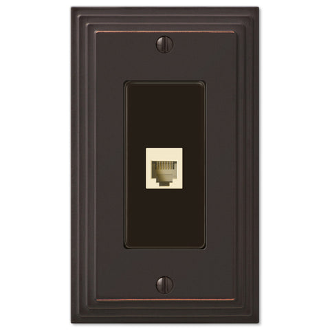 Steps Aged Bronze Cast - 1 Phone Jack Wallplate - Wallplate Warehouse