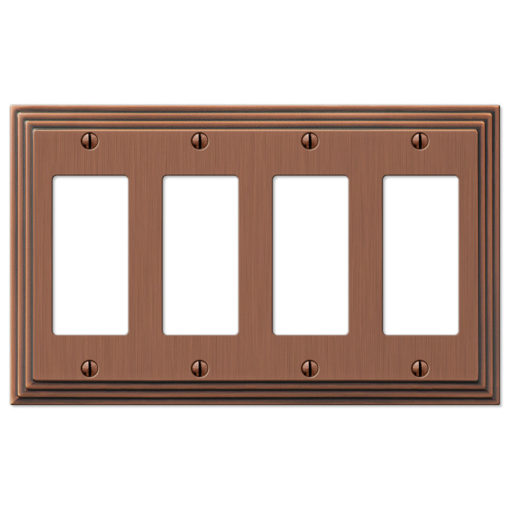 Steps Antique Copper Cast - 4 Rocker Wallplate - Wallplate Warehouse