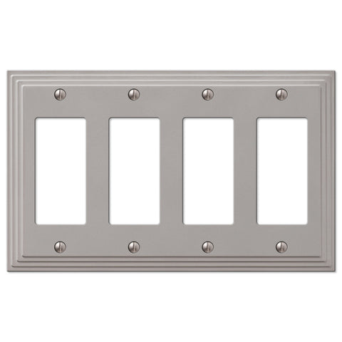 Steps Satin Nickel Cast - 4 Rocker Wallplate - Wallplate Warehouse