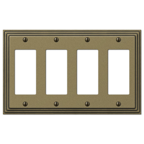 Steps Rustic Brass Cast - 4 Rocker Wallplate - Wallplate Warehouse