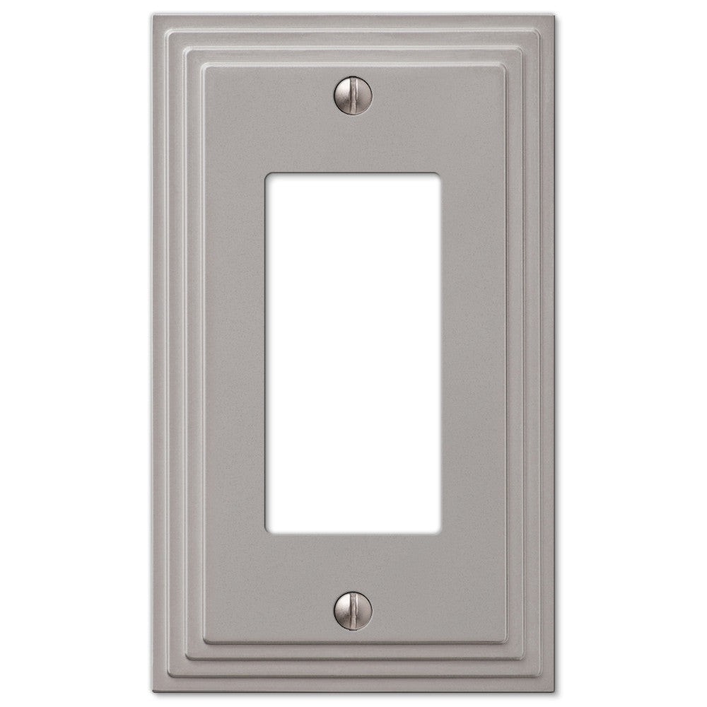 Steps Satin Nickel Cast - 1 Rocker Wallplate - Wallplate Warehouse