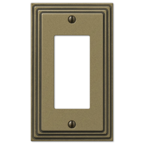 Steps Rustic Brass Cast - 1 Rocker Wallplate - Wallplate Warehouse
