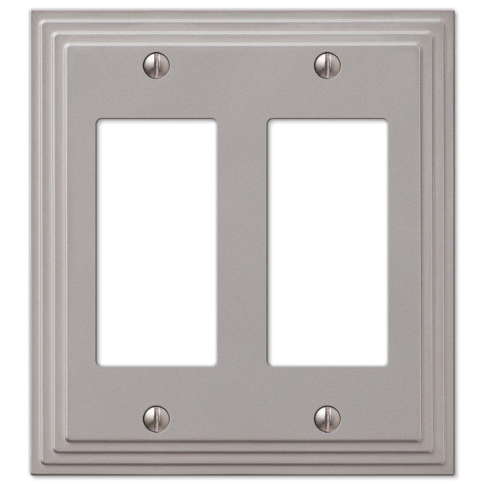 Steps Satin Nickel Cast - 2 Rocker Wallplate - Wallplate Warehouse
