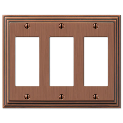Steps Antique Copper Cast - 3 Rocker Wallplate - Wallplate Warehouse